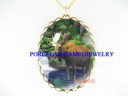 MOOSE NEARBY WATERFLL PORCELAIN CAMEO PENDANT NECKLACE