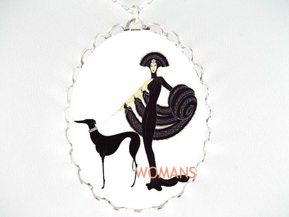 ART DECO LADY WITH GREYHOUND DOG PORCELAIN CAMEO NECKLACE
