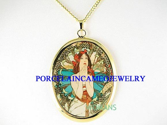 ALPHONSE MUCHA FLOWER LADY PORCELAIN CAMEO NECKLACE