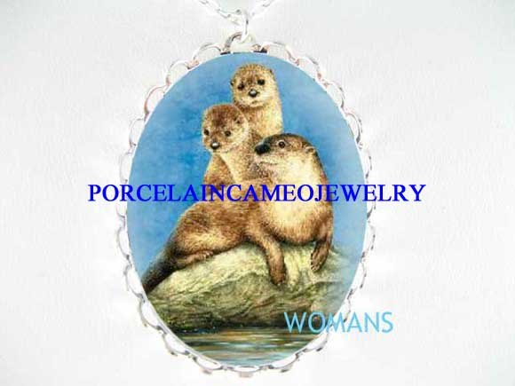 3 OTTER MOM BABY FAMILY PORCELAIN CAMEO NECKLACE