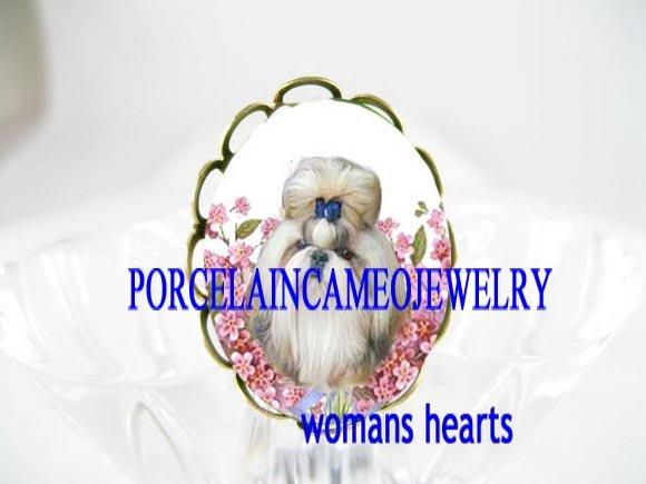 SHIH TZU DOG PINK FORGETMENOT PORCELAIN CAMEO RING 5-9