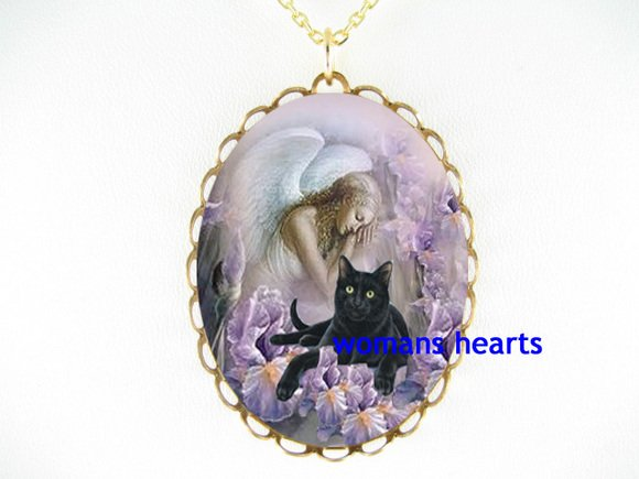BLACK CAT ANGEL IRIS LILY CAMEO PORCELAIN NECKLACE