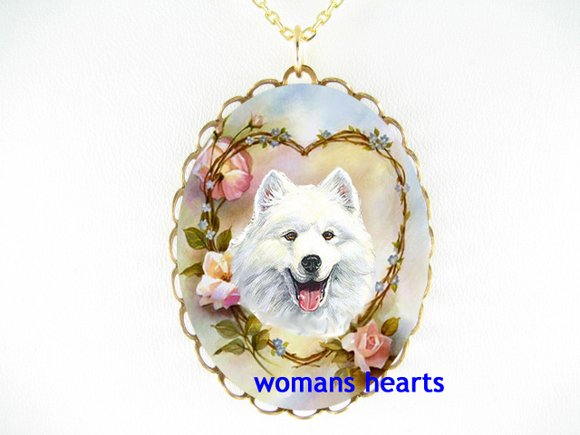 SMILING SAMOYED DOG ROSE HEART PORCELAIN CAMEO NECKLACE