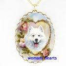 SMILING SAMOYED DOG ROSE HEART PORCELAIN CAMEO NECKLACE
