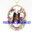 COLLIE DOG PANSY ROSE HEART CAMEO PORCELAIN NECKLACE