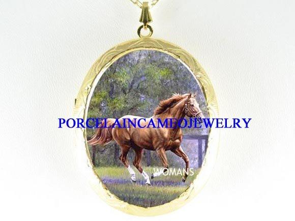 STALLION HORSE RUNNING PORCELAIN CAMEO LOCKET NECKLACE