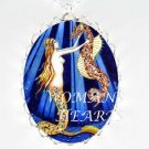 MERMAID AND SEAHORSE PORCELAIN CAMEO PENDANT NECKLACE