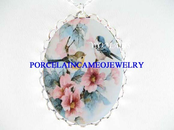 PINK DOGWOOD 2 BABY ROBIN BIRD PORCELAIN CAMEO NECKLACE