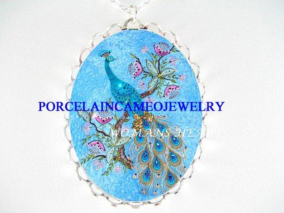 BLUE PEACOCK BIRD BUTTERFLY PORCELAIN CAMEO NECKLACE