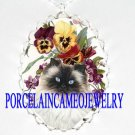 HIMALAYAN CAT PANSY VIOLET PORCELAIN CAMEO NECKLACE