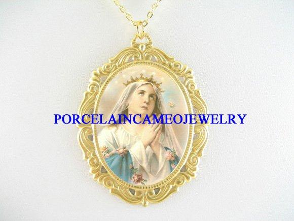 CATHOLIC CROWN VIRGIN MARY ROSEPORCELAIN CAMEO NECKLACE