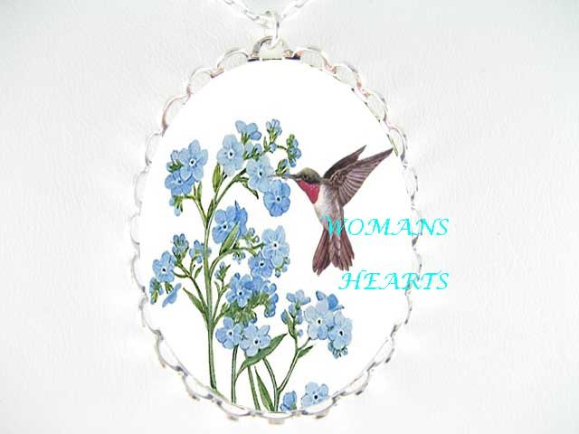 HUMMINGBIRD FORGET ME NOT PORCELAIN CAMEO PENT NECKLACE