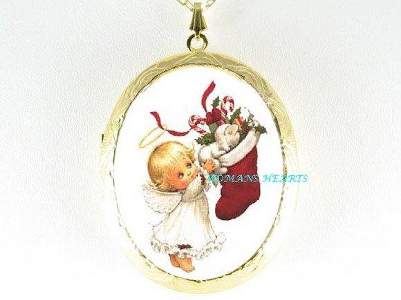 ANGEL CAT CHRISTMAS STOCKING PORCELAIN CAMEO NECKLACE