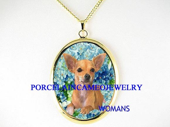 CHIHUAHUA DOG FORGET ME NOT CAMEO PORCELAIN NECKLACE