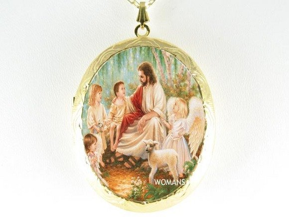 JESUS CHILD ANGEL LAMB PORCELAIN CAMEO LOCKET NECKLACE