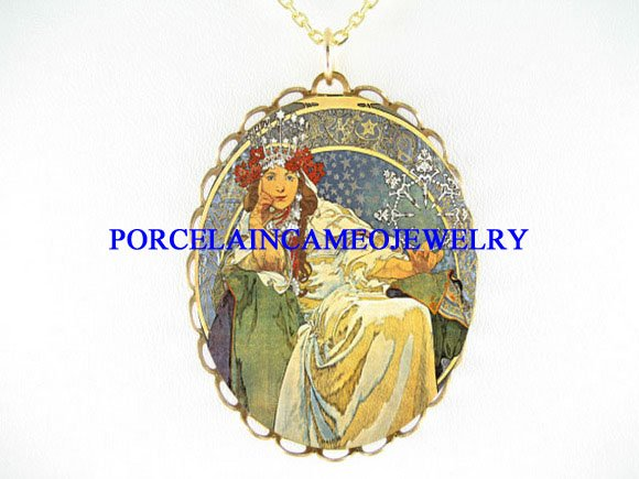 ALPHONSE MUCHA PRINCESS LADY PORCELAIN CAMEO NECKLACE