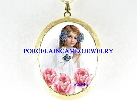 VICTORIAN LILACS ANGEL ROSE PORCELAIN CAMEO LOCKET