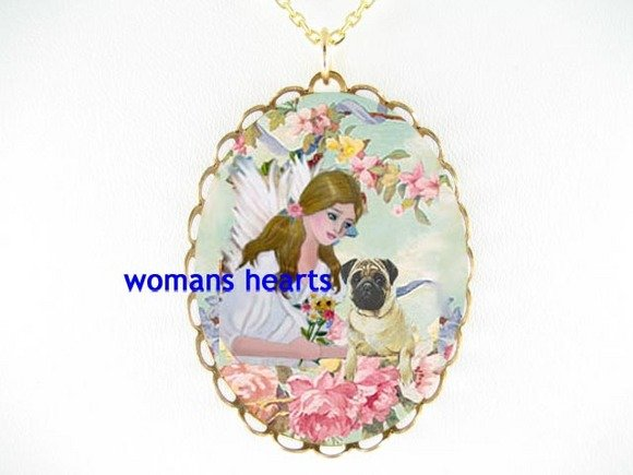 CUTE PUG DOG WITH ANGEL ROSE CAMEO PORCELAIN NECKLACE