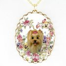 YORKSHIRE DOG PANSY ROSE HEART PORCELAIN CAMEO NECKLACE