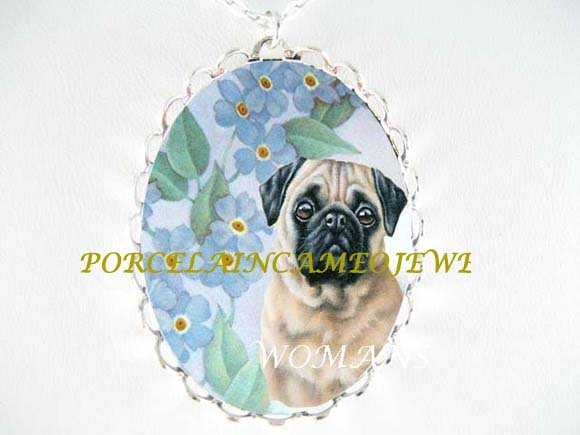 PUG DOG with FORGET ME NOT PORCELAIN CAMEO NECKLACE