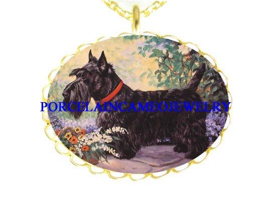 SCOTTISH TERRIER DOG FLORAL PORCELAIN CAMEO NECKLACE