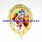 SMILING CLOWN OPAL PORCELAIN CAMEO PIN PENDANT BROOCH