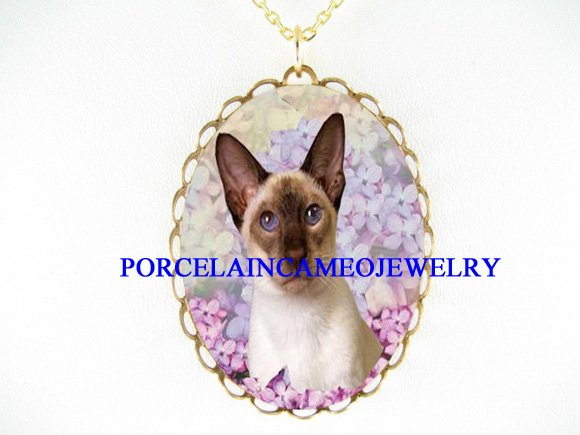 PURPLE EYE SIAMESE CAT LILACS PORCELAIN CAMEO NECKLACE