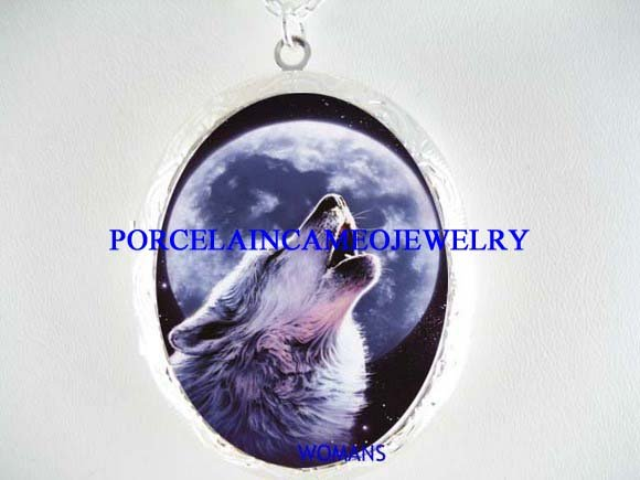 BLUE WOLF HOWLING MOON PORCELAIN CAMEO LOCKET NECKLACE