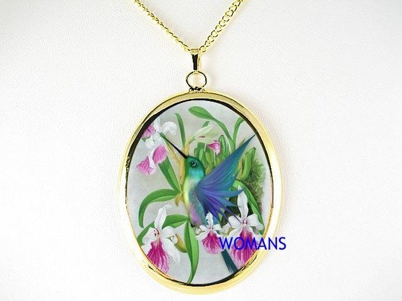 HUMMINGBIRD VIOLET ORCHID PORCELAIN CAMEO NECKLACE