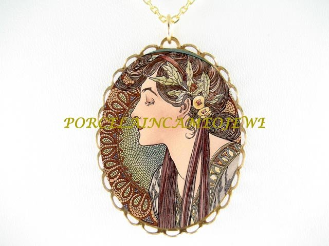 ALPHONSE MUCHA LAUREL LADY PORCELAIN CAMEO NECKLACE
