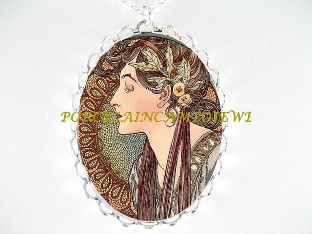 ALPHONSE MUCHA LAUREL LADY PORCELAIN CAMEO SILVERTONE NECKLACE