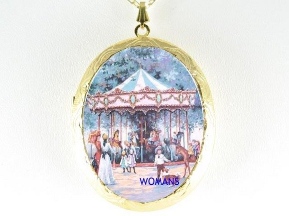 VICTORIAN CHILD CAROUSEL HORSE CAMEO PORCELAIN NECKLACE