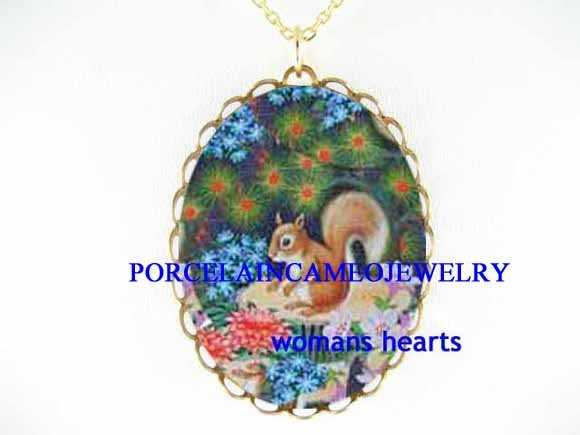 BABY SQUIRREL FORGET ME NOT CAMEO PORCELAIN NECKALCE
