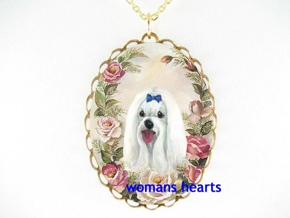 SMILING MALTESE DOG PINK ROSE CAMEO PORCELAIN NECKLACE