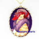 RED HAT CAT SOCIETY PORCELAIN CAMEO PENDANT NECKLACE