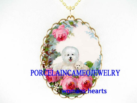 2 BICHON FRISE DOG MOM PUPPY WITH ROSE CAMEO NECKLACE