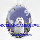 MALTESE DOG WITH BUBBLE FAIRY PORCELAIN CAMEO NECKLACE