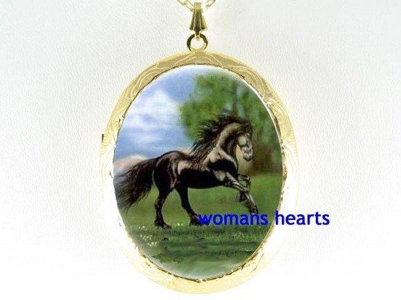 BLACK FRESIEN HORSE RUN CAMEO PORCELAIN LOCKET NECKLACE