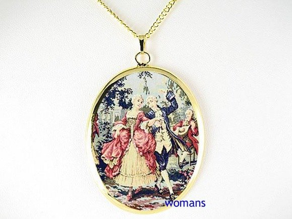 VICTORIAN ERA DANCING COUPLE CAMEO PORCELAIN NECKLACE