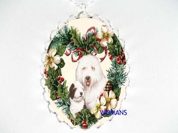 OLD ENGLISH SHEEPDOG CHRISTMAS PORCELAIN CAMEO NECKLACE