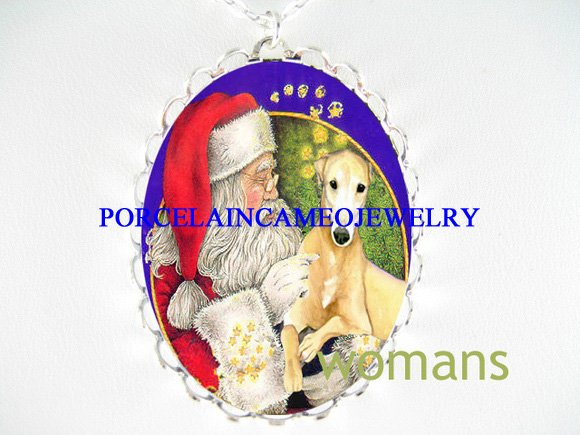 SANTA GREYHOUND DOG CHRISTMAS PORCELAIN CAMEO NECKLACE