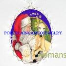 SANTA GREYHOUND DOG CHRISTMAS PORCELAIN CAMEO NECKLACE