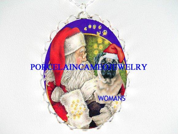 SANTA TICKLE CHRISTMAS PUG DOG PORCELAIN CAMEO NECKLACE