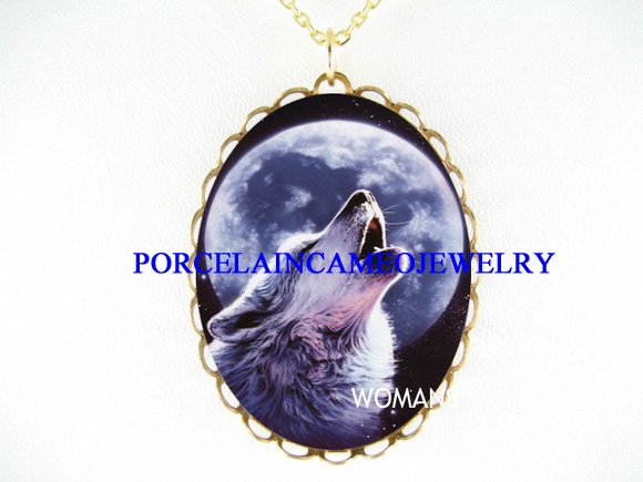 BLUE WOLF HOWLING FULL MOON PORCELAIN CAMEO NECKLACE