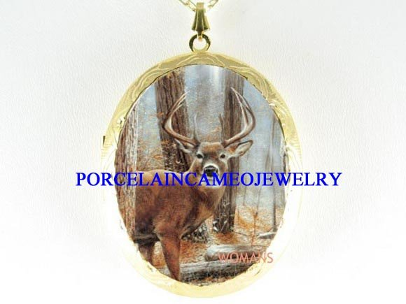BUCK DEER IN THE FOREST PORCELAIN CAMEO LOCKET NECKLACE