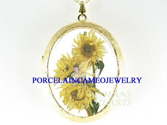 SUN FLOWER FAIRY PORCELAIN CAMEO LOCKET NECKLACE