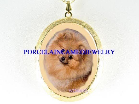 CUTE POMERANIAN DOG CAMEO PORCELAIN LOCKET NECKLACE
