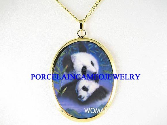 GIANT PANDA MOM BABY CUDDLING PORCELAIN CAMEO NECKLACE
