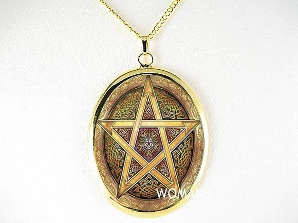 CELTIC STAR OF DAVID CAMEO PORCELAIN PENDANT NECKLACE