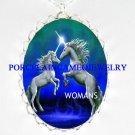 2 BLUE UNICORN HORSE STAR PORCELAIN CAMEO NECKLACE
